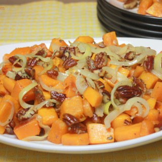 Roasted Butternut Squash with Onions and Pecans