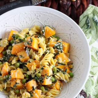 Roasted Butternut Squash Pasta with Peas