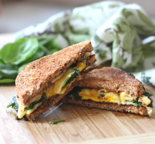 Egg and Cheese with Crispy Spinach
