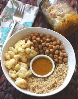 Warm Cauliflower Chickpea and Quinoa Salad