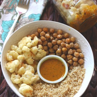 Warm Cauliflower Chickpea & Quinoa Salad with Turmeric Dressing