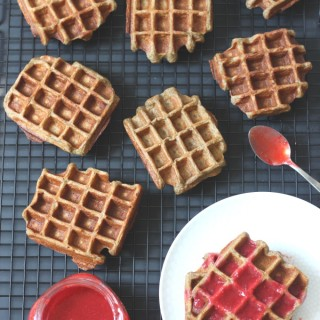 Flourless Waffles with Warm Raspberry Sauce