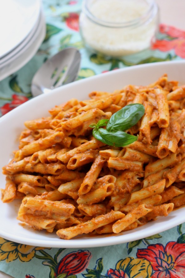 red pepper and eggplant pasta puree