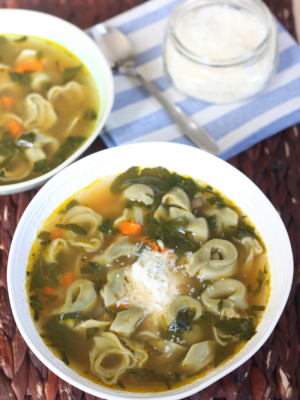 Spinach Tortellini in Broth